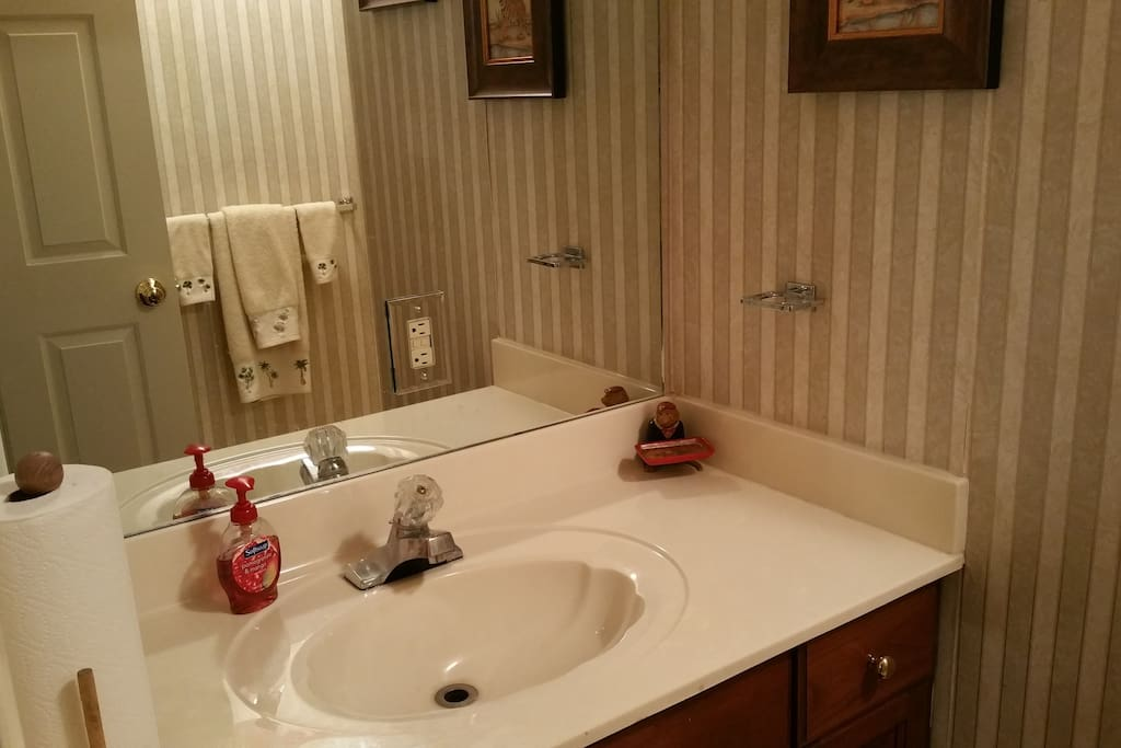 A Jack & Jill private bathroom is located across the hall from the main Guest Room and connects you to the optional second room. No worries if you forgot your toiletries, we have plenty available :)