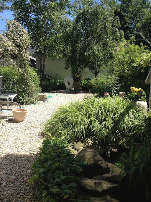 View of garden from koi pond