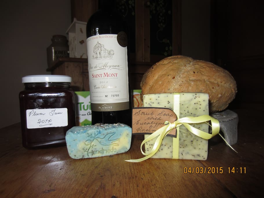 Handmade bread, soap and local wine welcomes all week-long visitors.