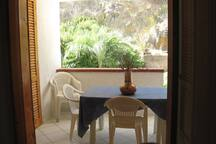 ... looking out over the private terrace and patio