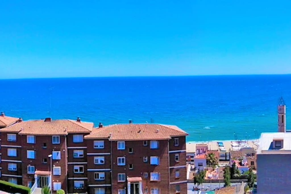 Fantastic view from the balcony to the blue Mediterranean sea