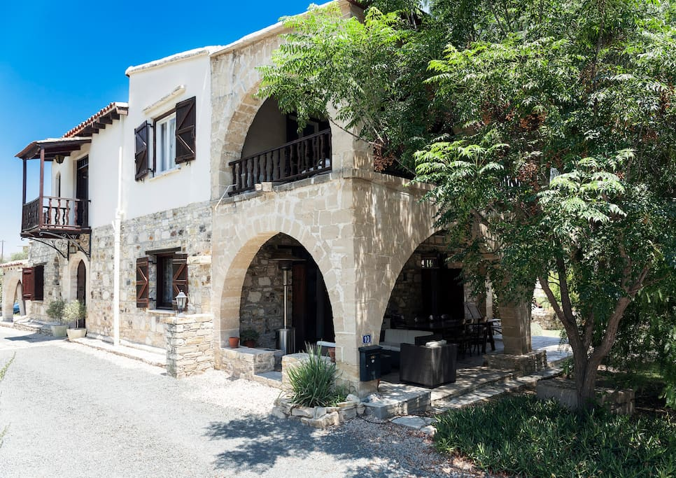 Charming Cypriot villa surrounded by Mediterranean garden.