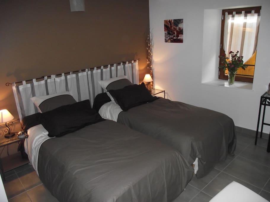 Chambre Combale avec 2 lits séparés