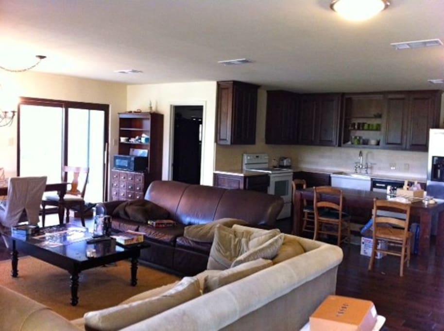 Open kitchen, dining, and living, great for gatherings with family and friends.