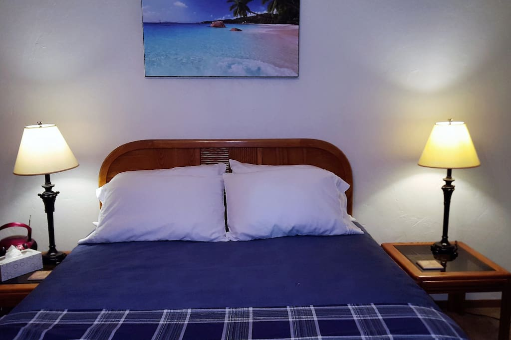Queen size bed, 2 night stands, 2 lamps.  Ceiling fan & light above bed.  We are ordering a Queen sleeper also for the living room.
