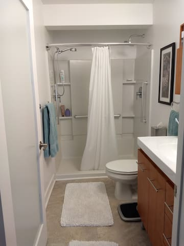 Two shower heads; Cabinet has one designated drawer for guests; Shampoo, conditioner, body wash supplied; Shared space