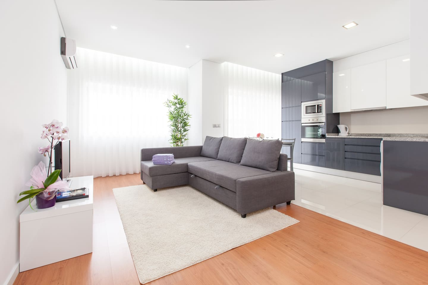 Living room with kitchenette.