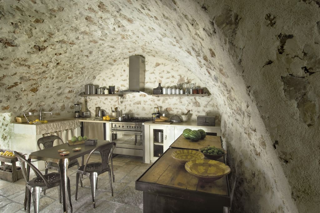 Kitchen with beautiful exposed stones