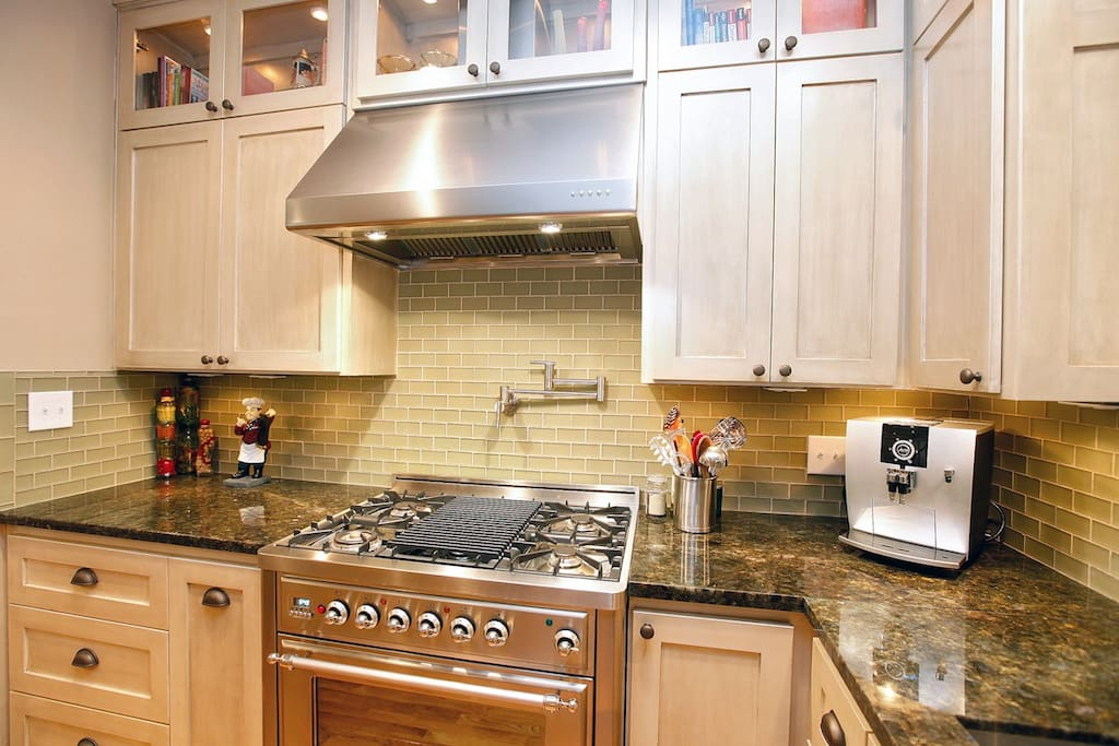 Furnished kitchen with upscale Italian appliances