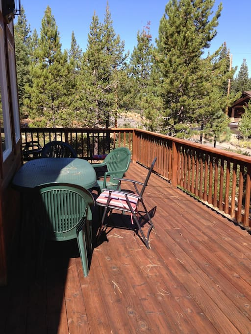 Large sunny deck for summer dining and BBQ's.