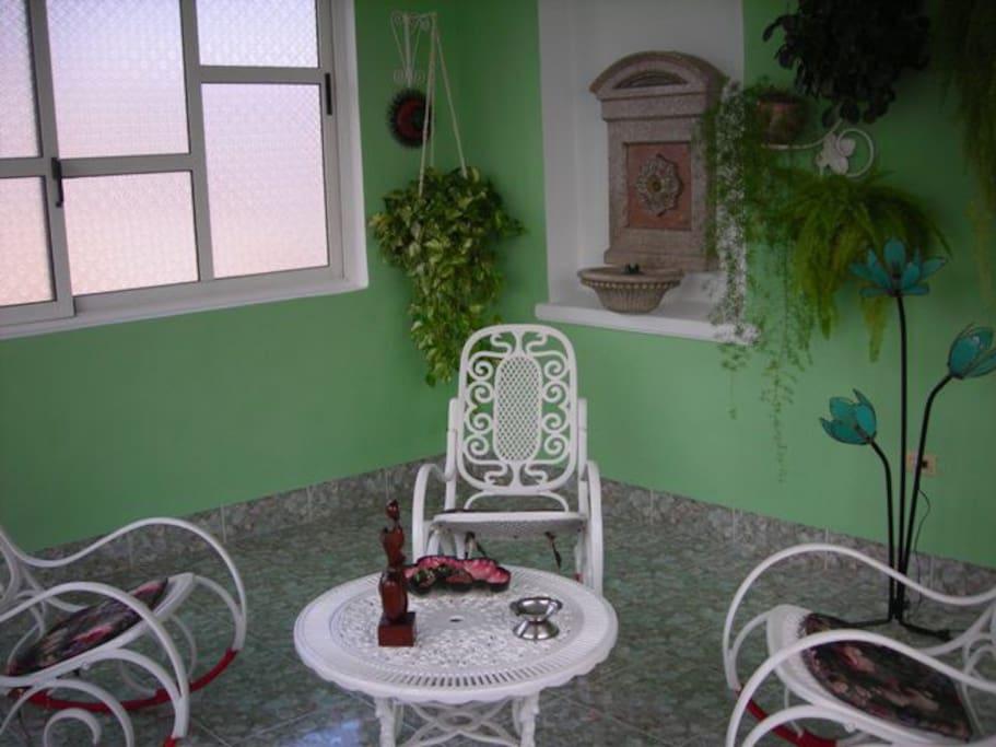 espacio verde para meditar