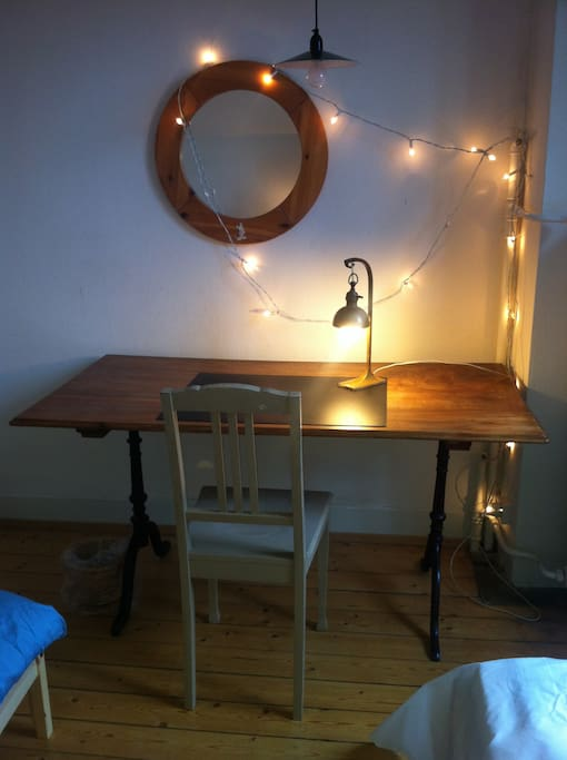 table in the bedroom