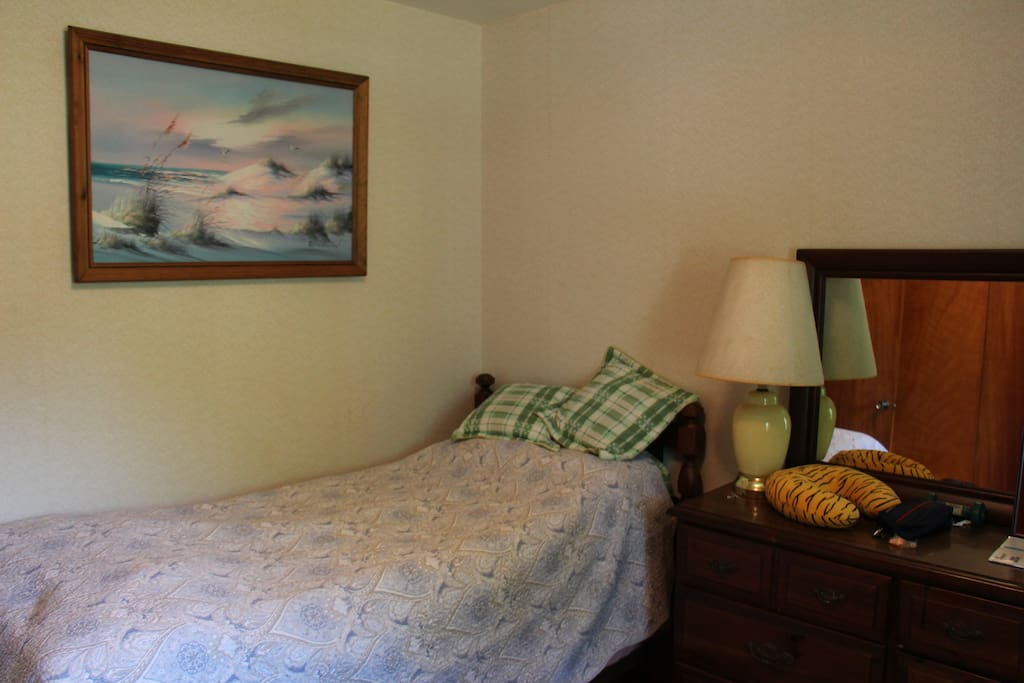 This bedroom also has a twin-sized bed and dresser.