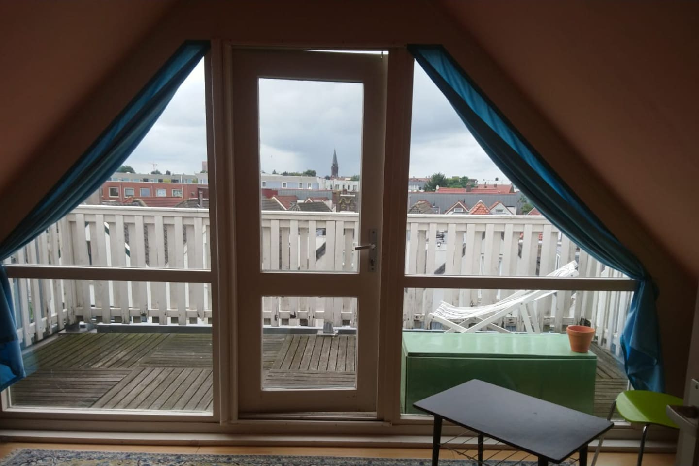 Room with a view, guests have their own balcony with a nice view of the city, from the unconventional side.