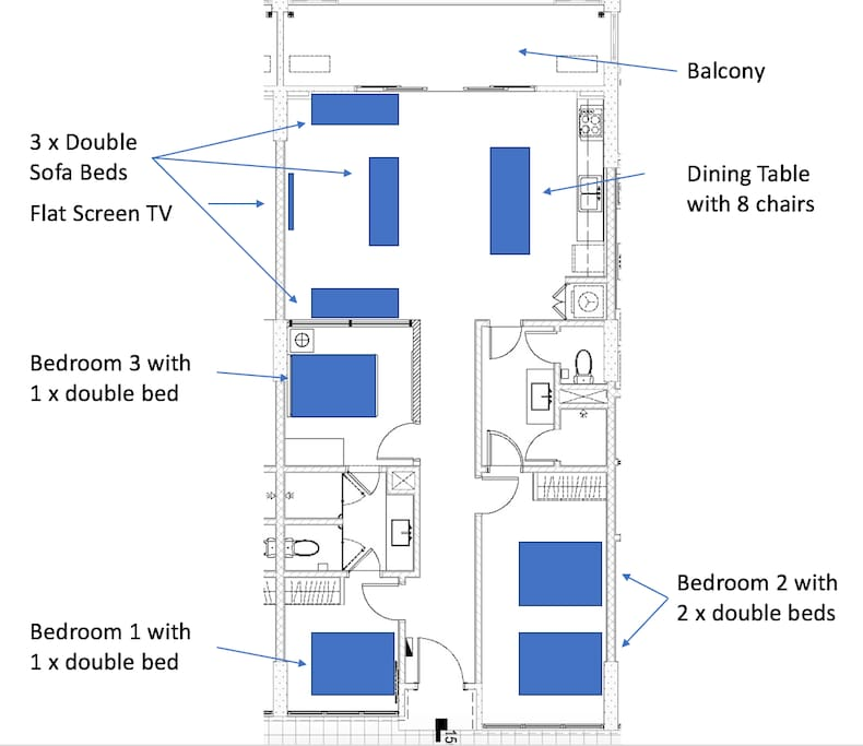 Floorplan 3 Bedroom 110 sq m unit