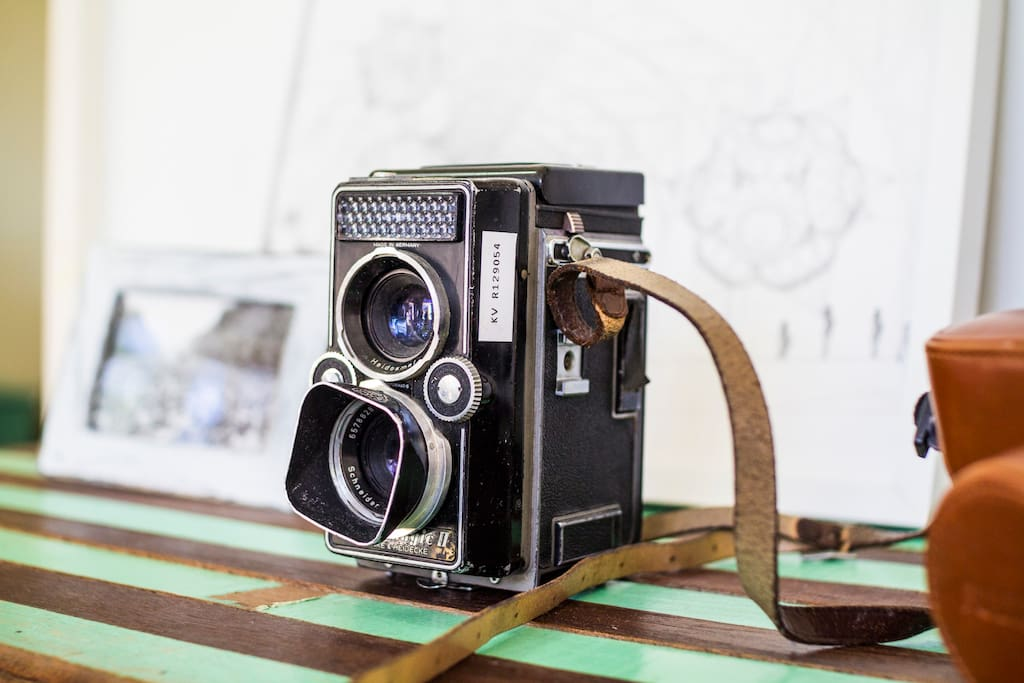 A vintage Rollei camera, inherited from Linda's German granny.