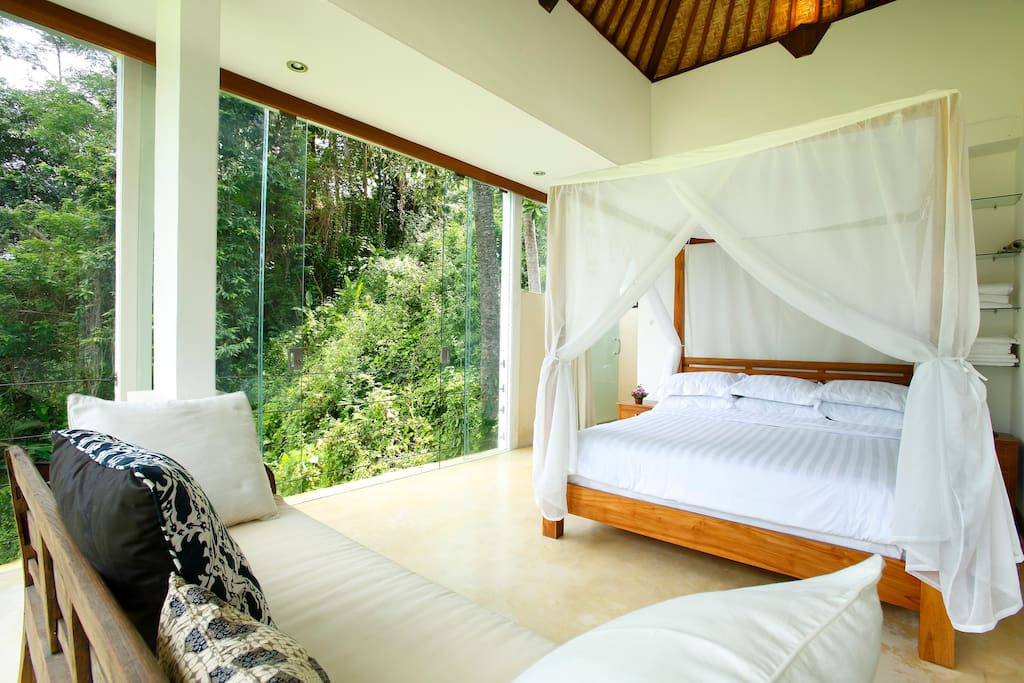 Lovely jungle view villa case in affitto a ubud bali for Camera letto jungle