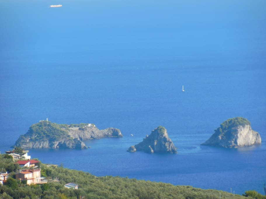 Li Galli Island - panorama from Lia Apartment living room