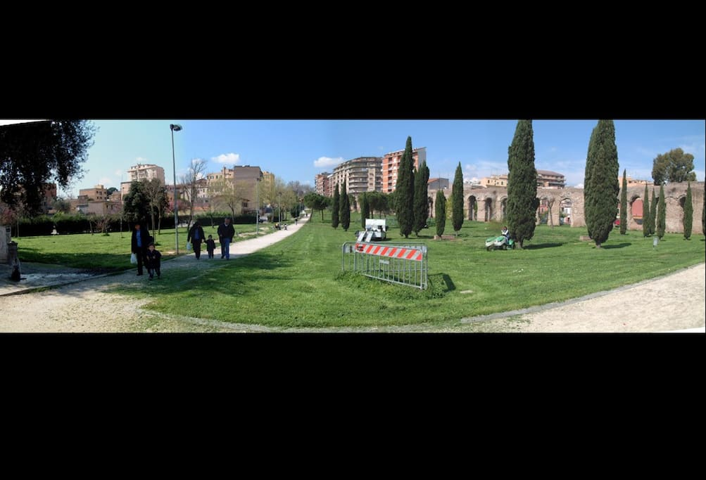 the small park that connects home with via di Torpignattara - here you'll find a playground for childrens