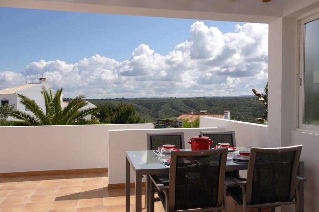 Terrassen met 2 eettafels en vaste barbecue.