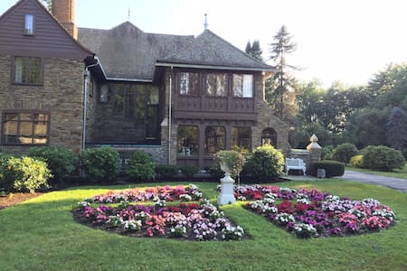 Private Lakefront Estate . Historic and meticulously maintained Estate on 12 acres in The Village of Bemus Point, NY All organic grounds . Walking distance to everything Bemus Point offers . Breakfast included at The Historic Lenhart Hotel or The Bemus In