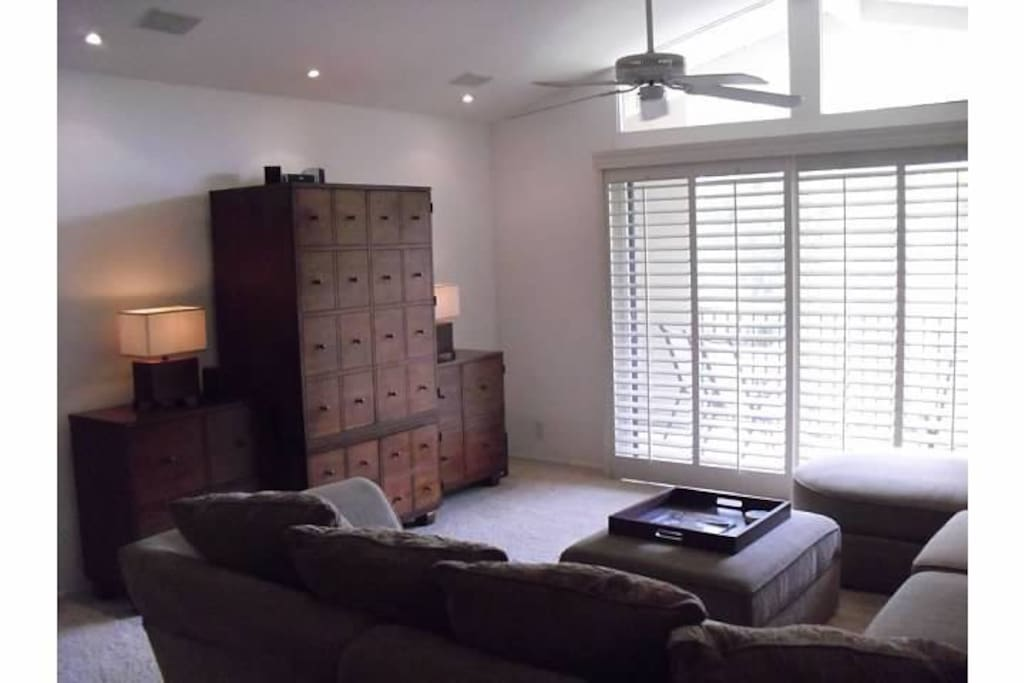Living room with large sectional and t.v.