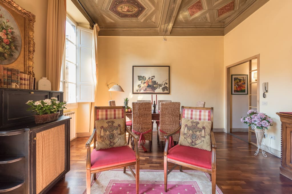 Living room, ceiling paints from 1200 a.C. World Heritage building, view historical center, A/C each room