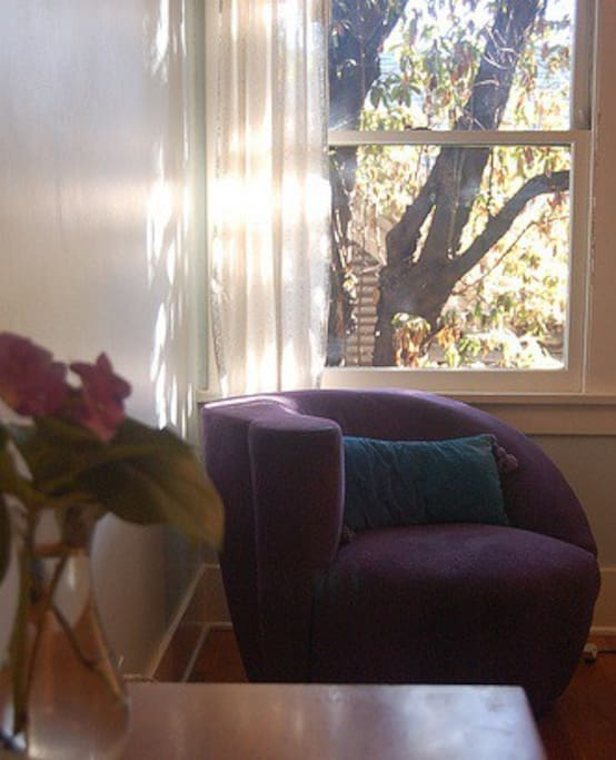 View out of blue room, in morning light