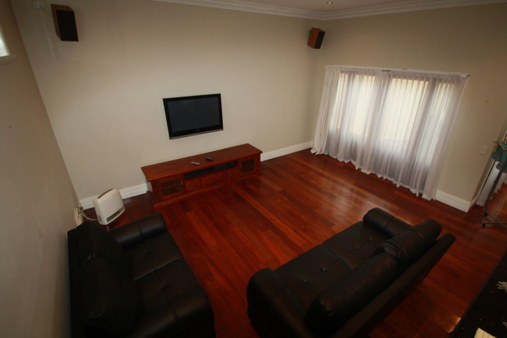 Leather lounge with 42inch plasma TV