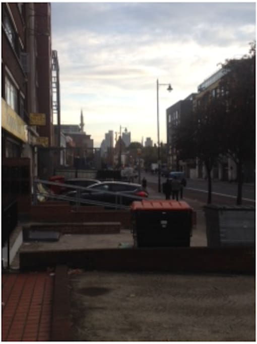 view down Kingsland Road - Liverpool street staion 20 min walk or 8 min bus ride away