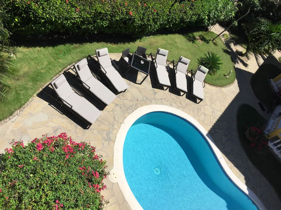 Comfortable pool loungers to relax in the sun