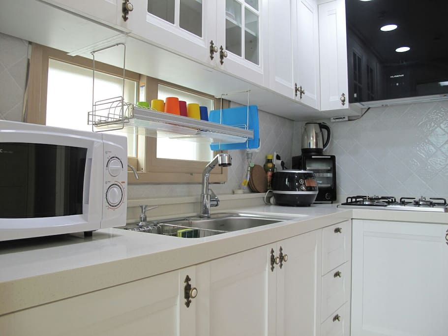 Kitchen, rice cooker, water pot, microwave, convection toaster