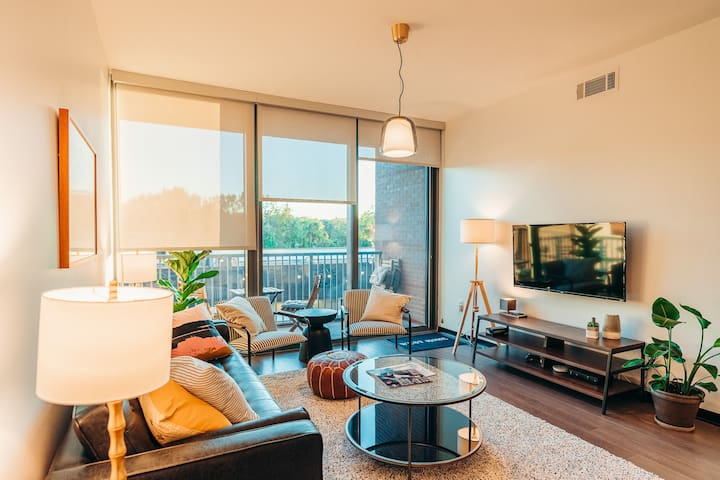 Our spacious living area, with plenty of comfortable seating options and a sleeper-style sofa.