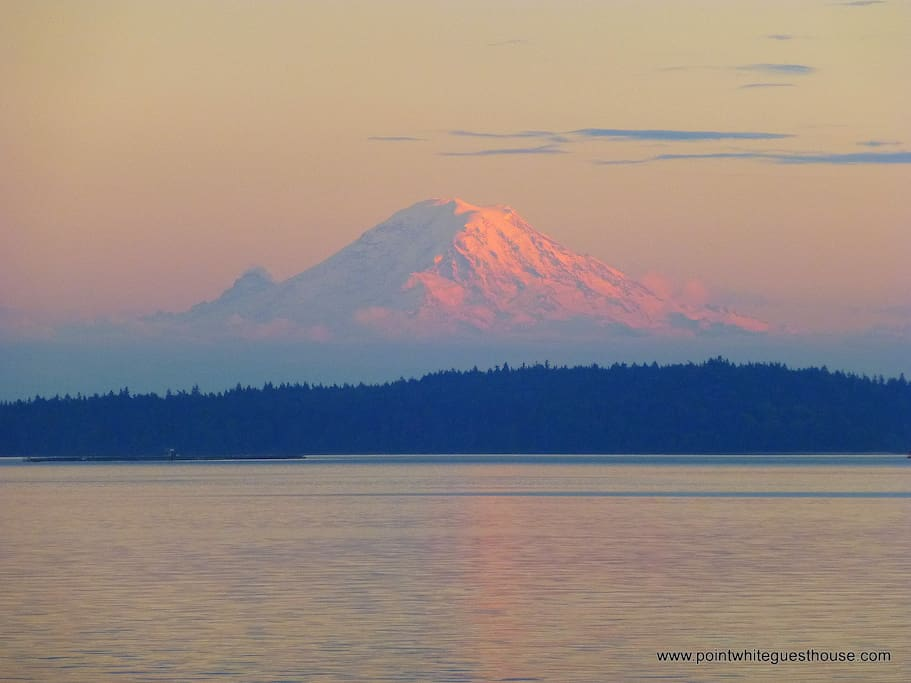 Mount Rainier viewed from the beach