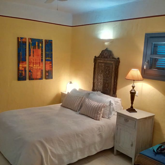 Bright independent room on ground floor of large house in quiet area between the beach of Gialiscari (5 mins walk) and the fishing village of Vourkari (5 mins walk in the other direction)