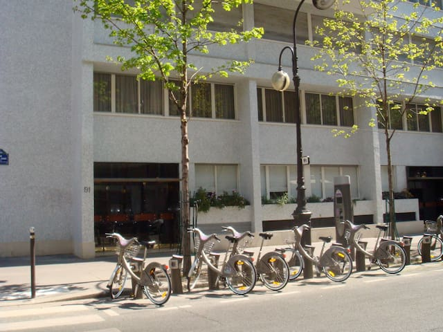 Entrance and bike station