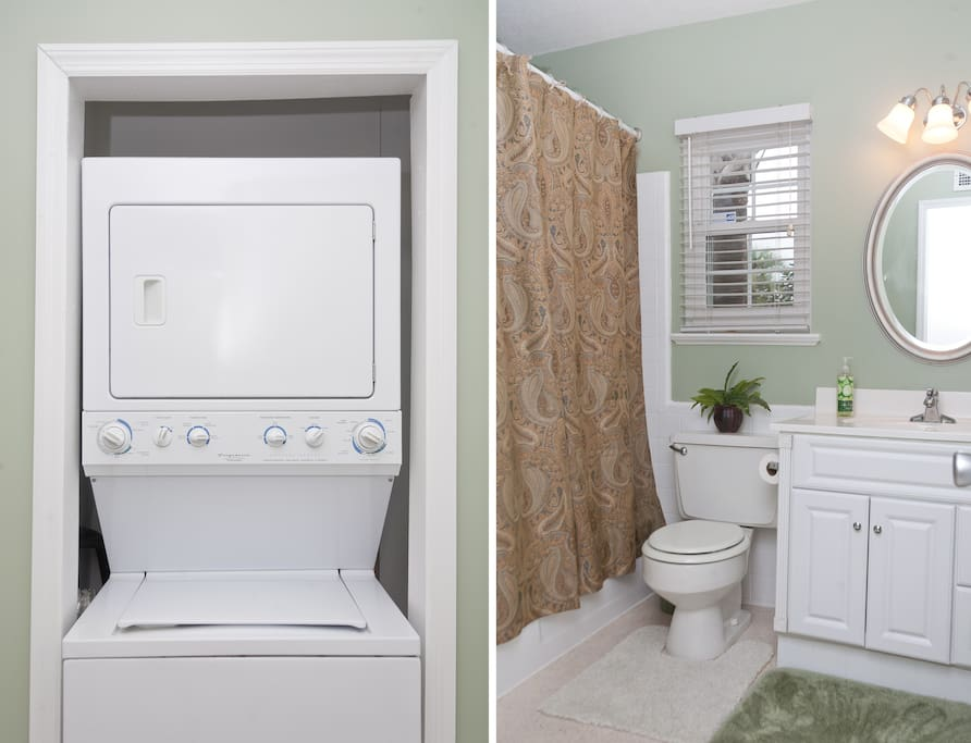 freshly remodeled bath, stack washer and dryer... handy!