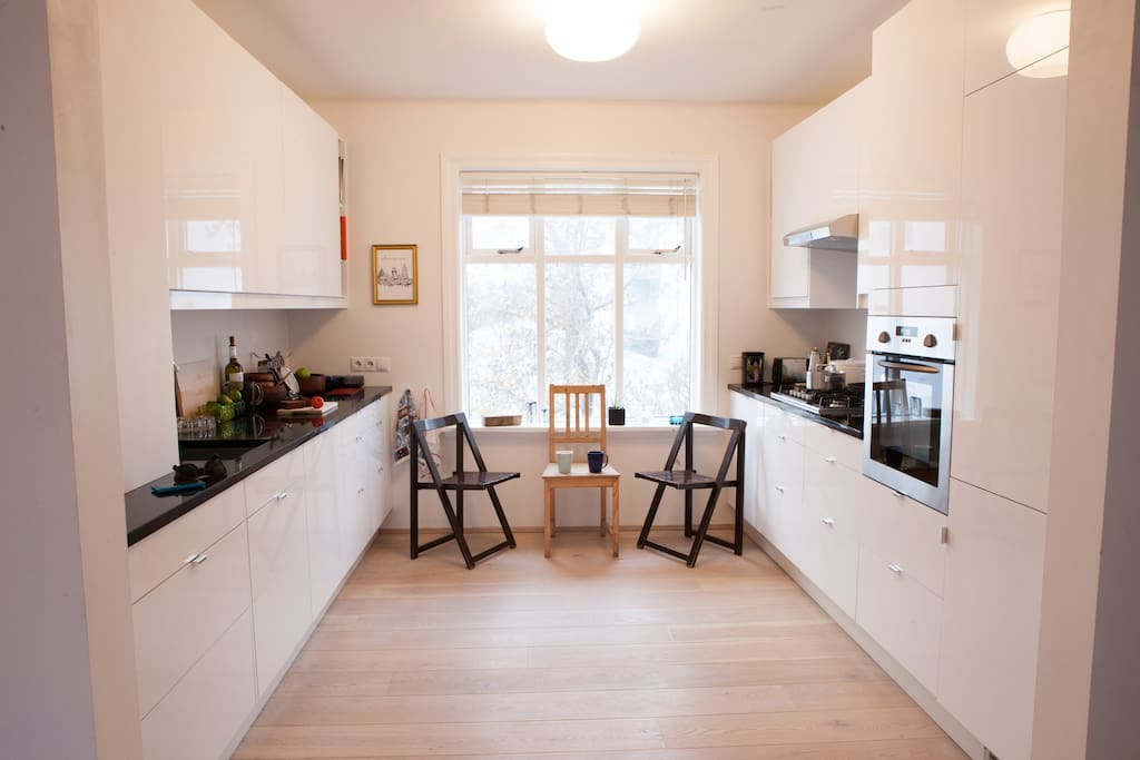 Kitchen is nowadays equiped with kitchen table and chairs for 4-5.