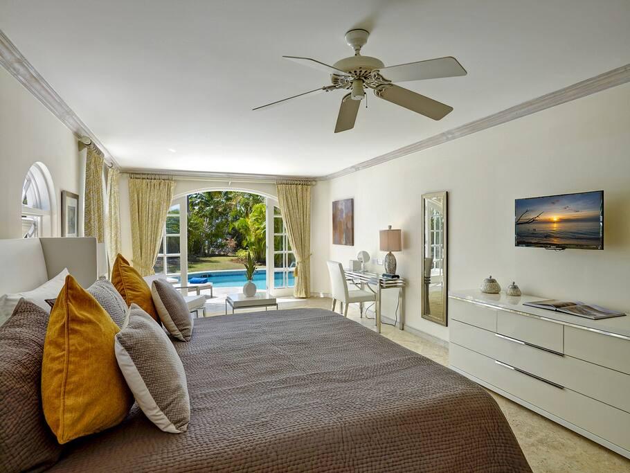 Master suite on ground floor. Pool side bedroom