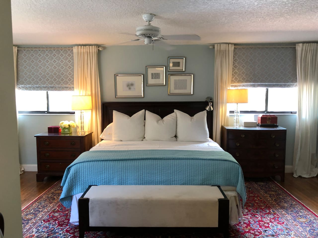 Huge room with plenty of clothing storage for a longer stay. Sleep like a baby in this top-of-line Sterns & Foster King size bed in the master bedroom suite complete with blackout Roman shades.