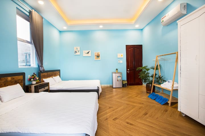 CoCo 3 - 2 double beds, 1 drawer/bedside table, 1 closet, 1 refrigerator, 1 hair dryer, flip flops, full amenities (soap, toothbrush, comb, shaver, cotton swab), capacity 4-6 persons, using outside toilet/bathroom in the 1st floor