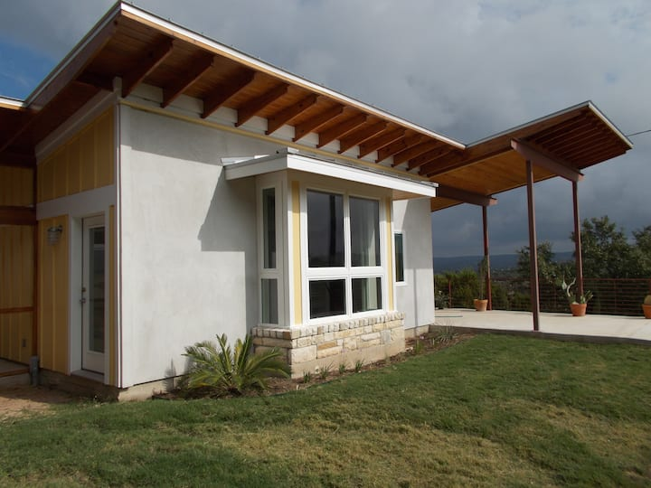 A contemporary yellow bungalow