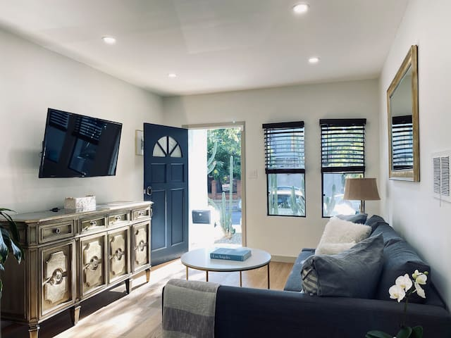 The entrance and main living room / hang out area