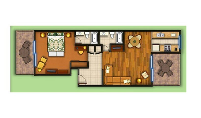 The floor plan schematic with our expansive master bedroom, spa bathroom, spacious living room with a 2nd bathroom, and 2 lanais.