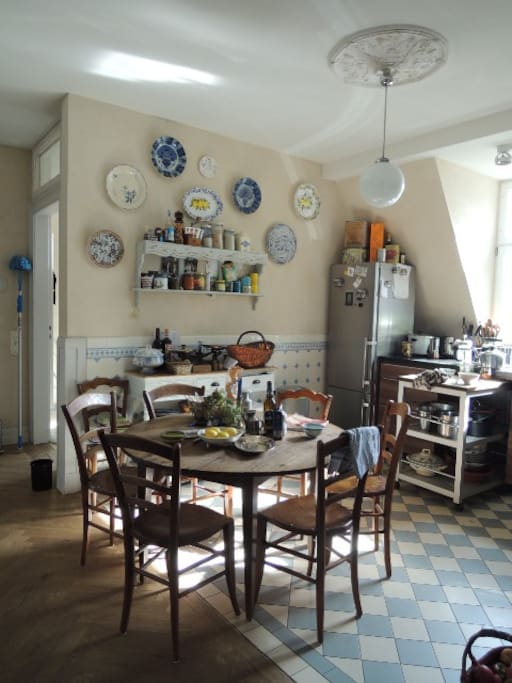 our charming living kitchen will host you with nice breakfeast and place and time to talk