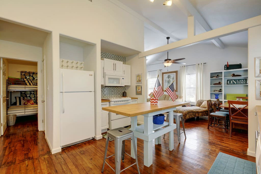 All appliances included: fridge, stove, microwave, and dishwasher