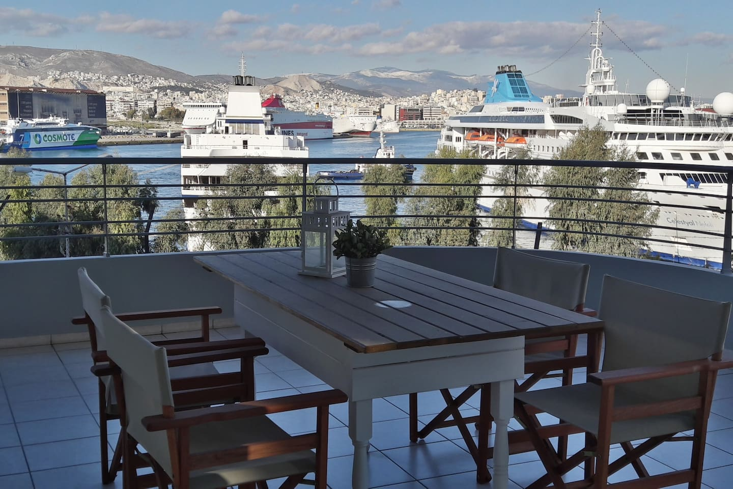 Large balcony with harbor view