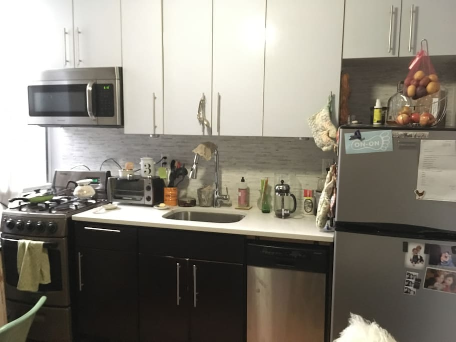 The apartment kitchen is fully available for guests to use! Stick a bagel in the toaster oven and pour some coffee from the French Press, or hop across the street to Manhattanville Coffee and have it served to you by their excellent baristas.