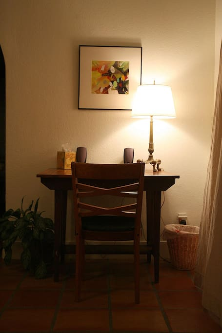 Writing table in living area