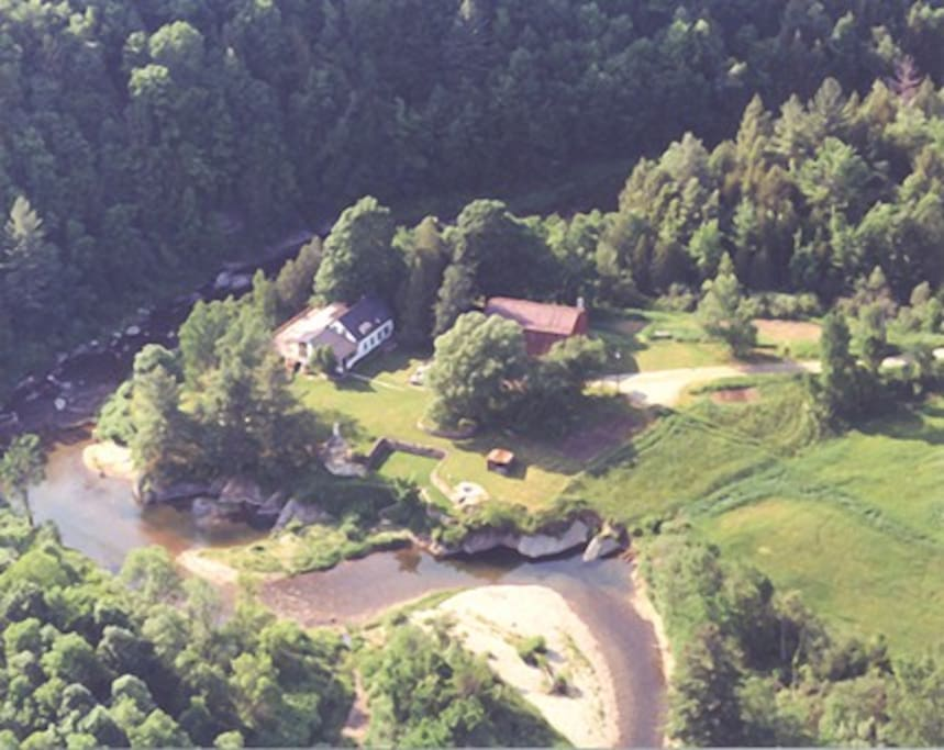 The Farm on Mad River from the air